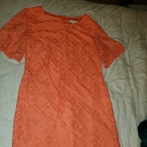 Coral lace overlay